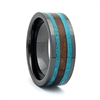 "STEEL REVOLTâ""¢ Comfort Fit High-Tech Ceramic Wedding Ring with Turquoise and Genuine Jack Daniels Whiskey Barrel Wood Inlay"