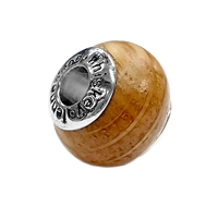 Silver Bead Made with Wood From Jack Daniels Whiskey Barrel