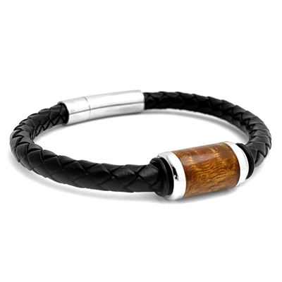 "STEEL REVOLTâ""¢ Genuine Leather Bracelet with Wood from Genuine Jack Daniels Whiskey Barrel"