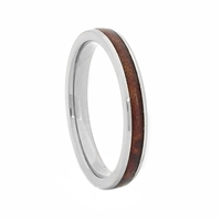 "STEEL REVOLTâ""¢ Comfort Fit Domed Titanium Wedding Ring Wood from Genuine Jack Daniels Whiskey Barrel"