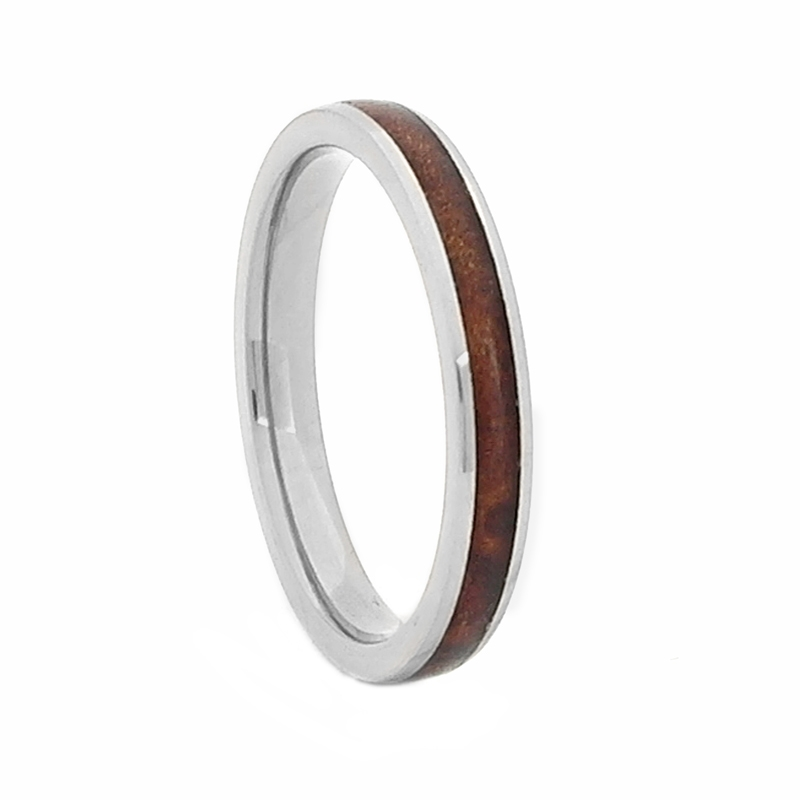 Comfort Fit Domed 3mm Titanium Wedding Ring With Genuine Wood From