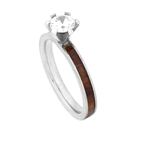 "STEEL REVOLTâ""¢ Comfort Fit Domed Titanium Engagement Ring With CZ & Whiskey Barrel Wood"