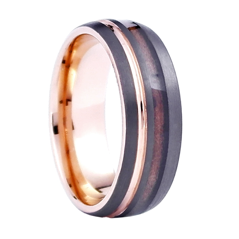 Comfort Fit Domed 8mm Tungsten Carbide Wedding Ring With Rose Gold Accents And Genuine Wood From Jack Daniels Whiskey Barrel By Steel Revolt