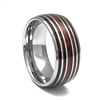 "STEEL REVOLTâ""¢ Comfort Fit Domed Tungsten Carbide Wedding Ring Wood from Genuine Jack Daniels Whiskey Barrel"