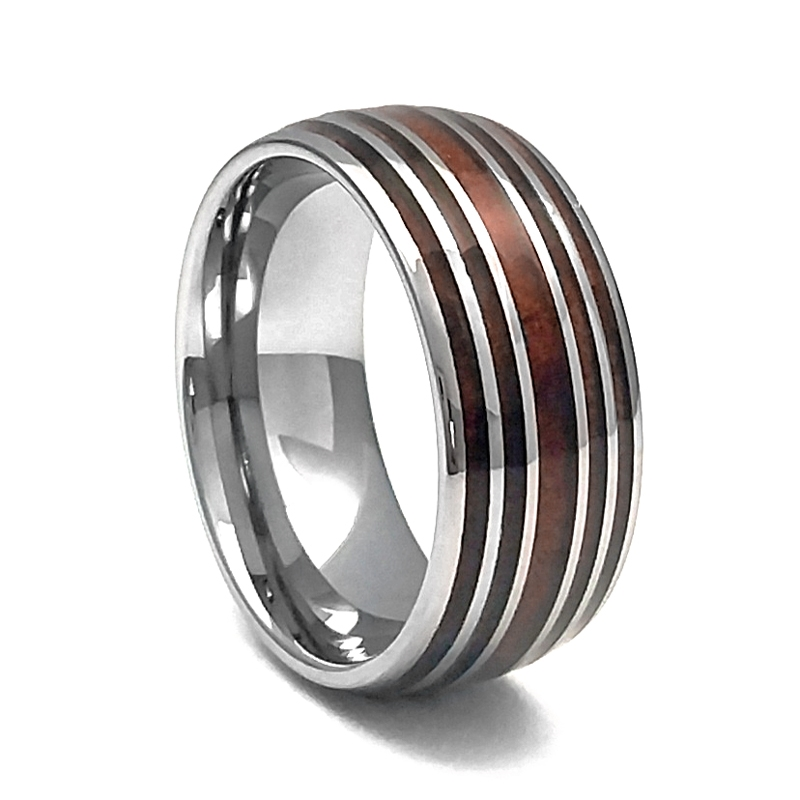 Comfort Fit Domed 10mm Tungsten Carbide Wedding Ring With Genuine