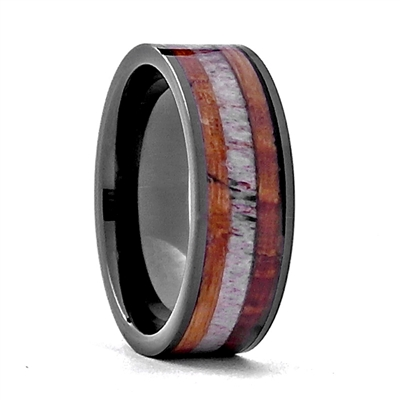 "STEEL REVOLTâ""¢ Comfort Fit Black High-Tech Ceramic Wedding Ring with Antler and Genuine Jack Daniels Whiskey Barrel Wood Inlay"