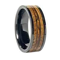 "STEEL REVOLTâ""¢ Comfort Fit Black High-Tech Ceramic Wedding Ring with Tobacco Leaf and Genuine Jack Daniels Whiskey Barrel Wood Inlay"