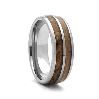 "STEEL REVOLTâ""¢ Comfort Fit Domed Tungsten Carbide Wedding Ring Wood from Genuine Jack Daniels Whiskey Barrel and Cigar Leaf"