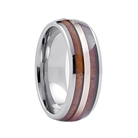 "STEEL REVOLTâ""¢ Comfort Fit Domed Tungsten Carbide Wedding Ring with Gold Color Accent and Wood from Genuine Jack Daniels Whiskey Barrel"