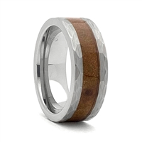 "STEEL REVOLTâ""¢ Comfort Fit Hammered Look Tungsten Carbide Wedding Ring Wood from Genuine Jack Daniels Whiskey Barrel"