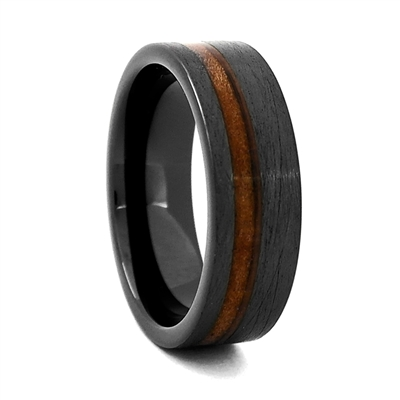 "STEEL REVOLTâ""¢ Comfort Fit ""Charred"" Finish High-Tech Ceramic Wedding Ring Wood from Genuine Jack Daniels Whiskey Barrel"