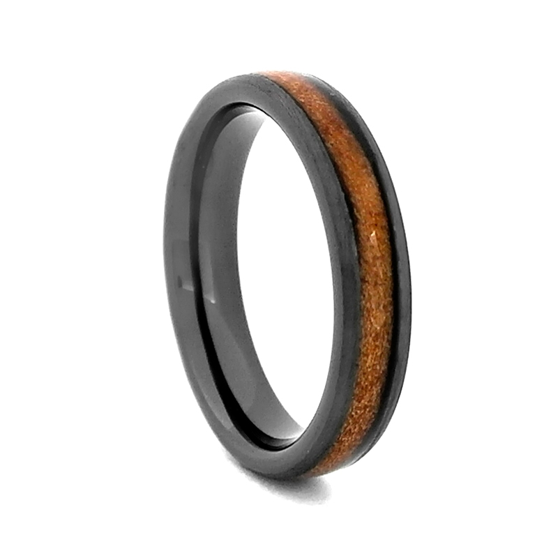 Comfort Fit Charred 8mm High Tech Ceramic Wedding Ring With