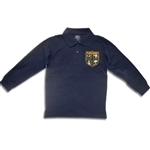 UNISEX YOUTH LONG SLEEVE NAVY POLO