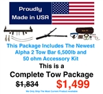 Blue Ox Alpha 6.5k lb Tow Bar Complete Tow Package