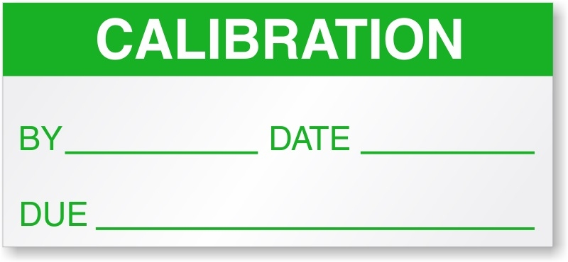 Gas Monitor Calibration Label Sticker for use with Gas Detectors