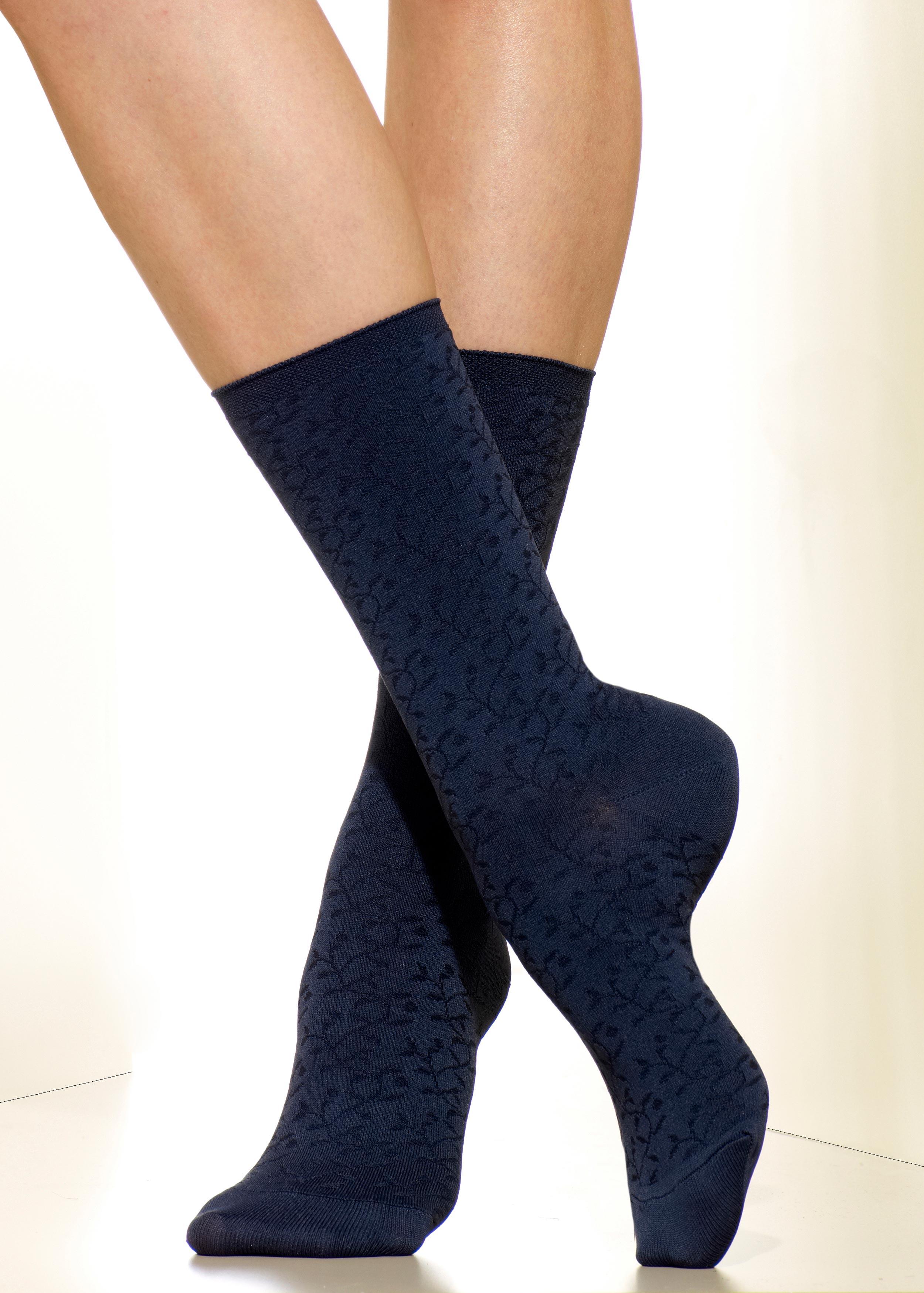 8a47eb85b Silkies Microfiber Crew Socks (Laurel Pattern) | Four Fashion Shades ...