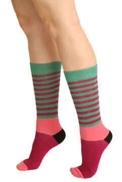 Striped Multi-Colored Crew Socks