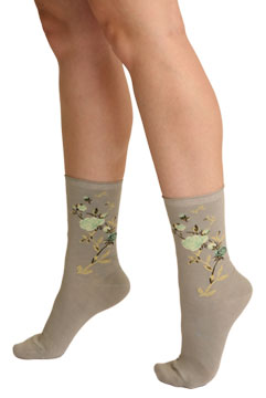 Metallic Floral Crew Socks