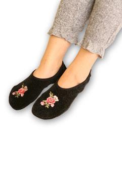 Floral Embroidered Chenille Slippers