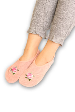 Rose Embroidered Chenille Slippers