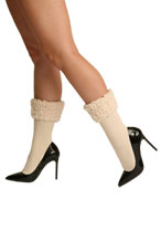 Plush Cuff Ribbed Crew Socks