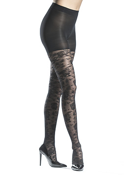 Floral Net Control Top Tights
