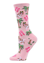 Tropical Spaniel Bamboo Crew Socks