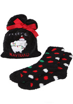 Fleece Navidad Cozy Sock and Gift Bag Set