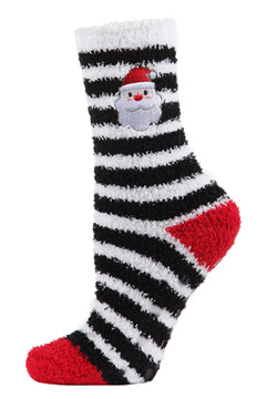 Striped Santa Embroidered Cozy Socks