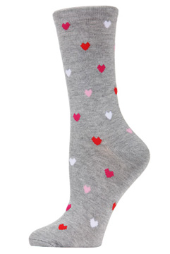 Multi Hearts Bamboo Crew Socks