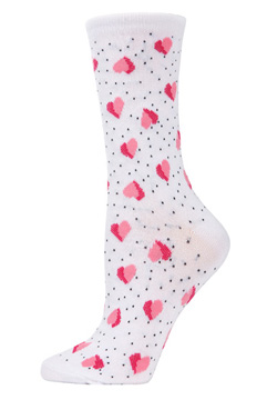 Floating Hearts Bamboo Crew Socks