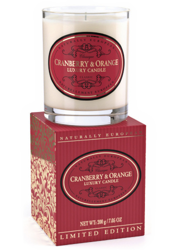 Naturally European Limited Edition Scented Candle - Cranberry & Orange