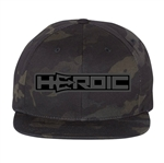 HEROIC Snap Back Hat - Black Camo Special Ops