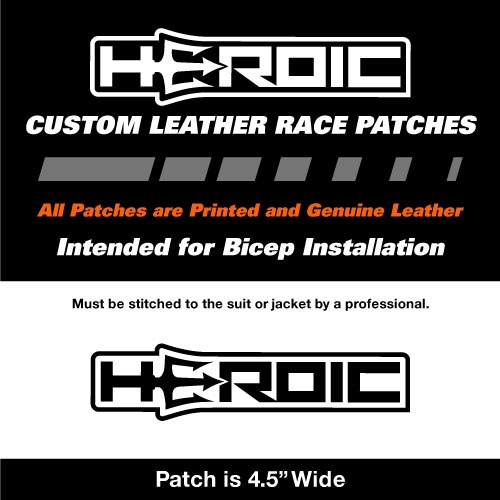 HEROIC Printed Leather Patch - HEROIC Logo White