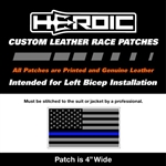 HEROIC Printed Leather Patch - USA Flag BG - Blue Line Grey