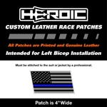 HEROIC Printed Leather Patch - USA Flag BG - Blue Line Grey Rush
