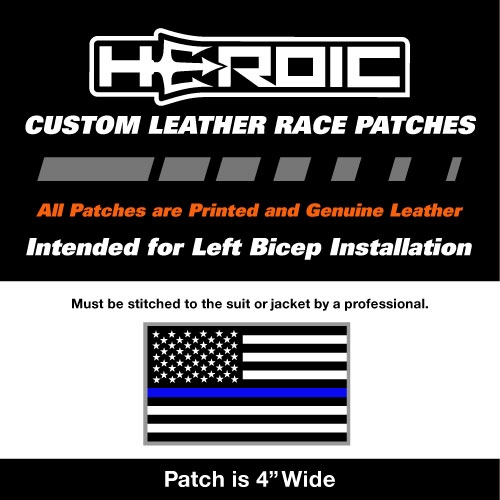 HEROIC Printed Leather Patch - USA Flag BG - Blue Line White