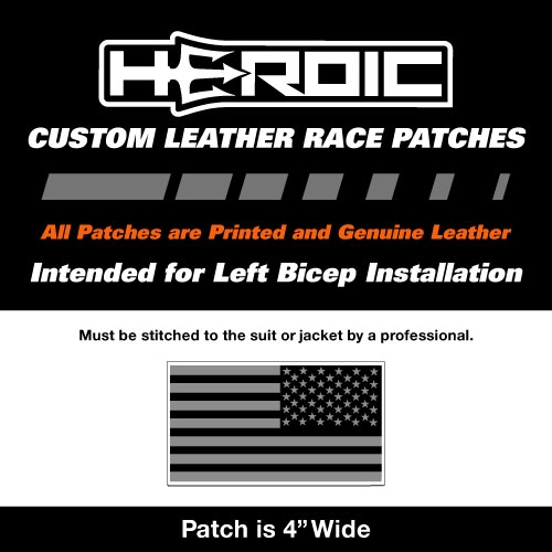 HEROIC Printed Leather Patch - USA Flag Black Grey - Right