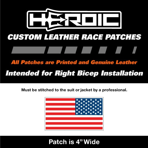 HEROIC Printed Leather Patch - USA Flag RWB - Left