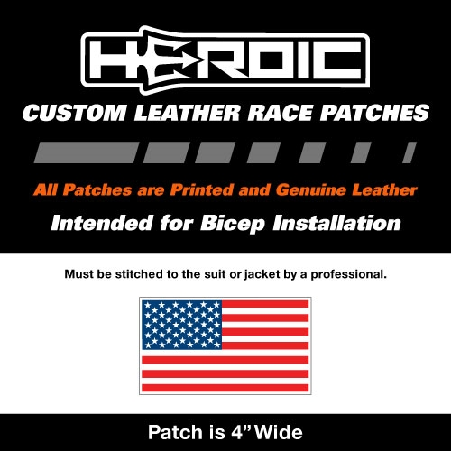 HEROIC Printed Leather Patch - USA Flag RWB - Right
