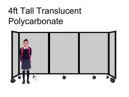 4ft Tall Portable Room Divider Translucent