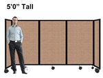 5Ft Tall Portable Room Divider Partition on Wheels