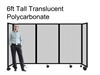6Ft Tall Portable Room Divider Partition 360 in Translucent Poly-carbonate