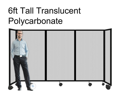 6Ft Tall Portable Room Divider Partition 360 in Translucent Poly