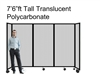 "7'6"" Ft Tall Portable Room Divider Partition in Translucent Poly-carbonate"