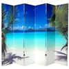 6 ft. Tall Double Sided Ocean Canvas Room Divider Screen in 6 Panels