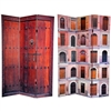 6 ft. Tall Double Sided Doors Canvas Room Divider Screen