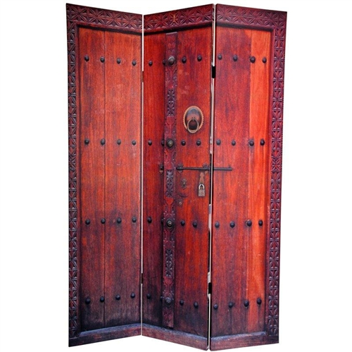 6 Ft Tall Double Sided Doors Canvas Room Divider Screen