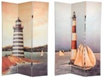 6 ft. Tall Double Sided Lighthouses Canvas Room Divider Screen