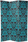 6 ft. Tall Double Sided Damask Room Divider Screen in Blue